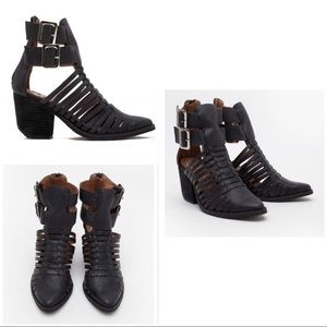 Jeffrey Campbell Lombard Leather Stack Heels Boots
